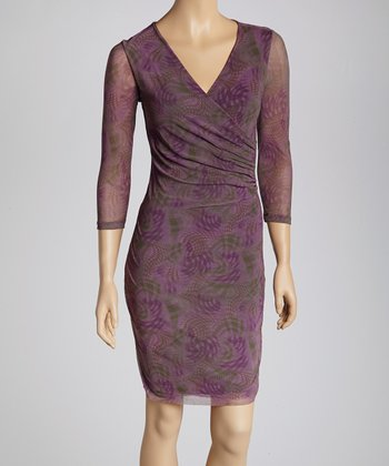 Calgary Grape Swirl Ruched Surplice Dress