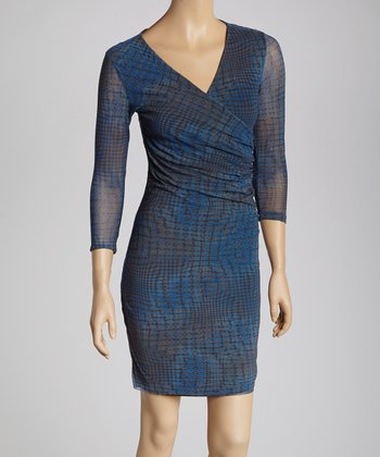 Zander Blue Abstract Ruched Surplice Dress