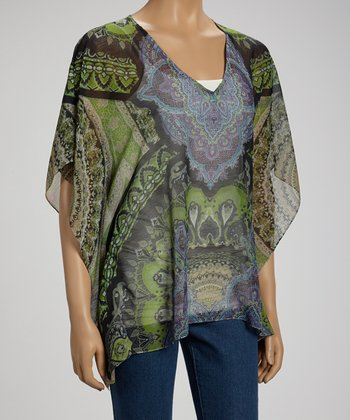 Temperance Arabesque Sidetail Cape-Sleeve Top