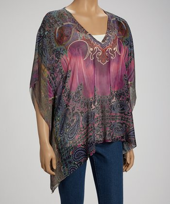 Ethnic Candiez Paisley Sidetail Cape-Sleeve Top
