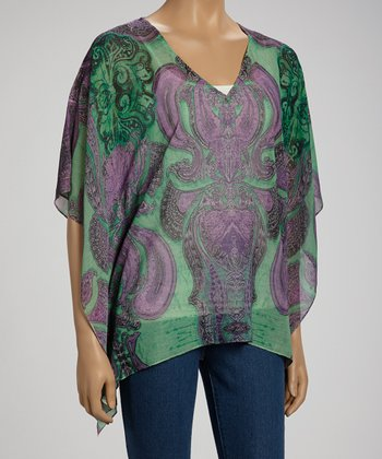 Fresh Reflections Paisley V-Neck Cape-Sleeve Top