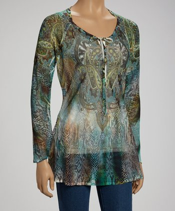 Sweetened Tassel Paisley Snakeskin Top