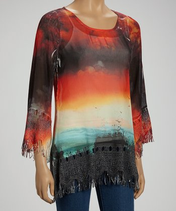 Photo Connections Ocean Sunset Fringe Top