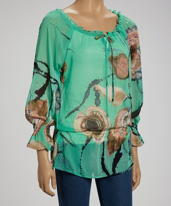 Aqua Floral Feather Peasant Top