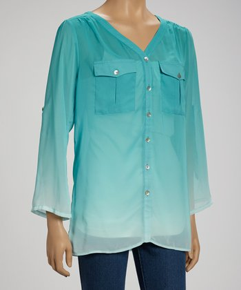 Turquoise Ombré V-Neck Button-Up
