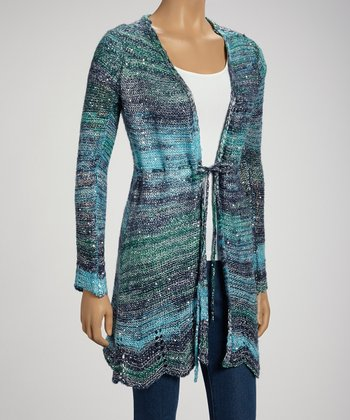 Blue Sequin Cardigan