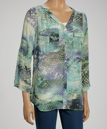 Turquoise Python V-Neck Button-Up