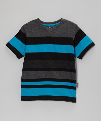 Navy & Charcoal Stripe V-Neck Tee - Toddler & Boys