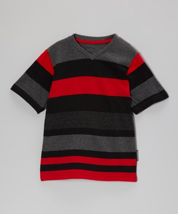 Red & Charcoal Stripe V-Neck Tee - Toddler & Boys
