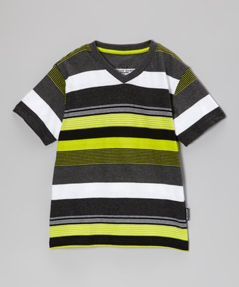 Lime Stripe V-Neck Tee - Boys