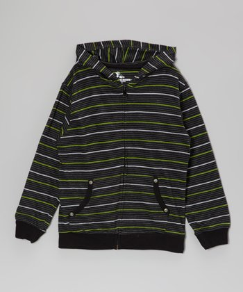 Lime Stripe Zip-Up Hoodie - Boys