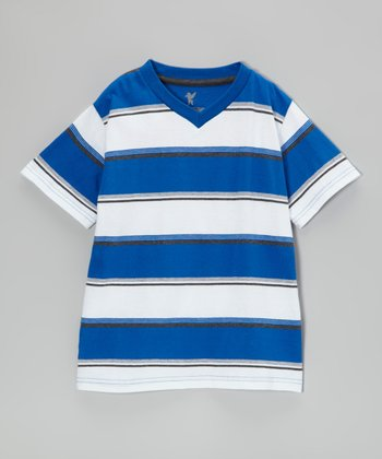 Royal Blue Stripe V-Neck Tee - Boys