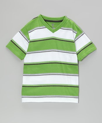 Grass Stripe V-Neck Tee - Boys
