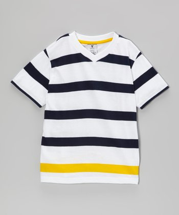 Gold & Black Stripe V-Neck Tee - Boys