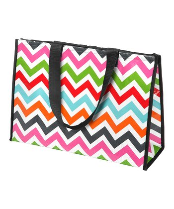 Pink, Orange & Gray Zigzag Large Cooler