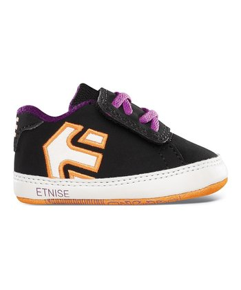 Black & Orange Fader Crib Sneaker