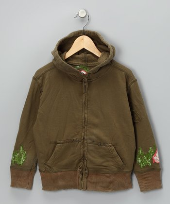 Olive Embroidered Zip-Up Hoodie - Girls