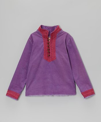 Violet Button-Placket Top - Girls