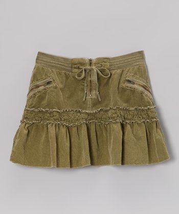 Olive Green Drawstring Corduroy Skirt - Girls