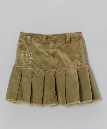 Olive Green 'Indo Chine' Corduroy Skirt	 - Girls
