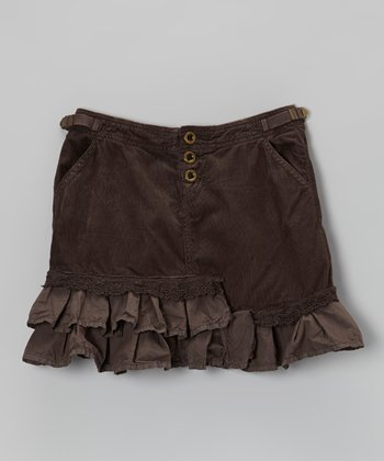 Coffee Tiered Corduroy Trumpet Skirt - Girls