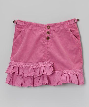 Fuchsia Ruffle Corduroy Skirt - Girls