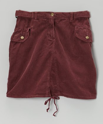 Eggplant Purple Corduroy Cargo Skirt - Girls