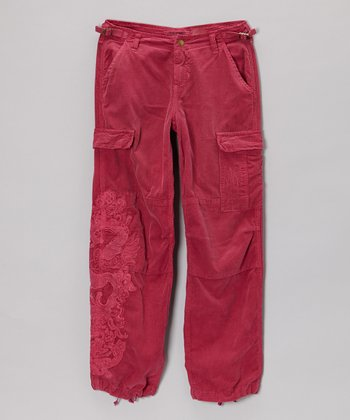 Magenta Corduroy Garm Pants - Girls