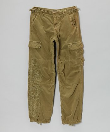 Olive Green Corduroy Garm Pants - Girls