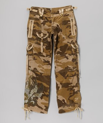 Brown Camo Tab Cargo Pants - Girls