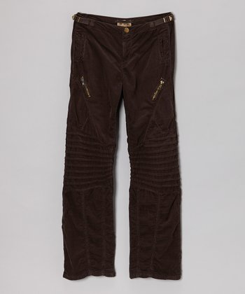 Coffee Reinforced Corduroy Cargo Pants - Girls
