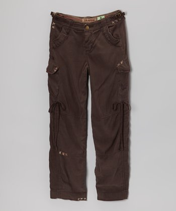 Charcoal Brown Silk Cargo Pants - Girls