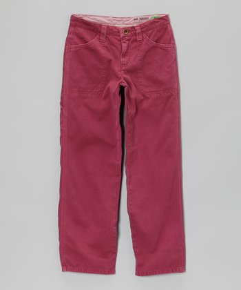 Magenta Twill Pants - Girls