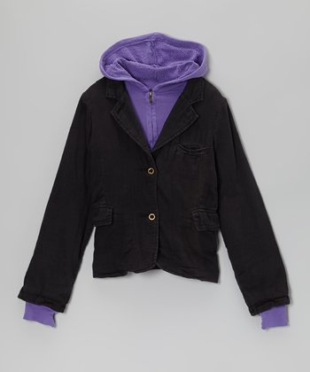 Black Hooded Layered Blazer - Girls