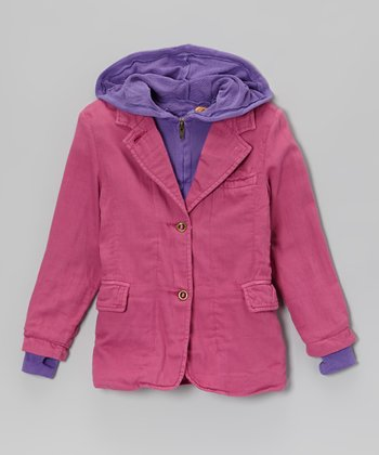 Fuchsia & Purple Hooded Layered Blazer - Girls