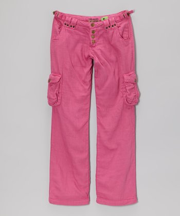 Fuchsia Quadruple-Snap Cargo Pants	- Girls