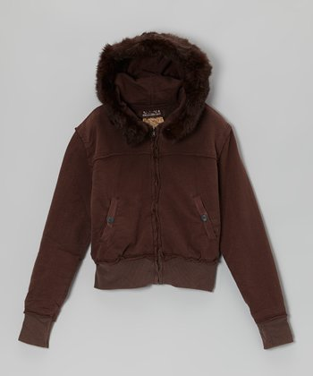Chestnut Faux Fur Zip-Up Hoodie - Girls
