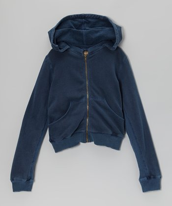 Ink Ribbed Zip-Up Hoodie - Girls
