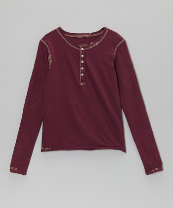 Eggplant Purple Henley - Girls