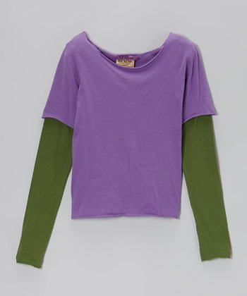 Violet Layered Tee - Girls