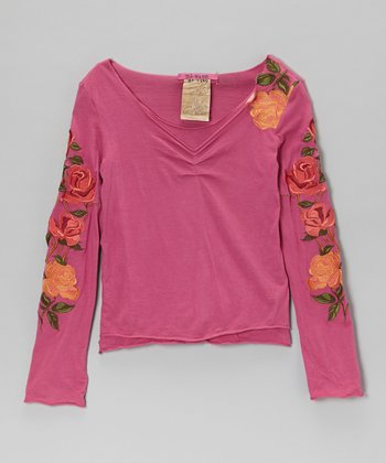 Fuchsia Rose V-Neck Tee - Girls