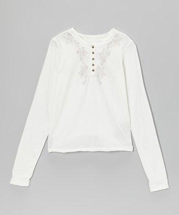 Birch Embroidered Henley - Girls