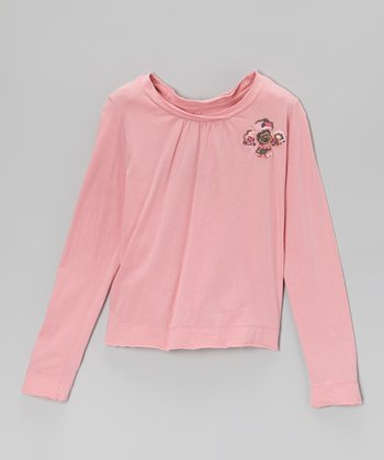 Carnation Floral Embroidery Tee - Toddler & Girls