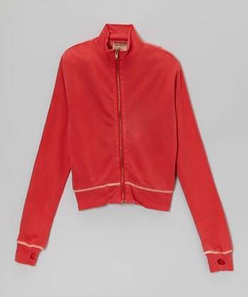 Red Silk Zip-Up Jacket - Girls