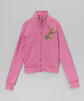 Mulberry Silk Zip-Up Jacket - Girls