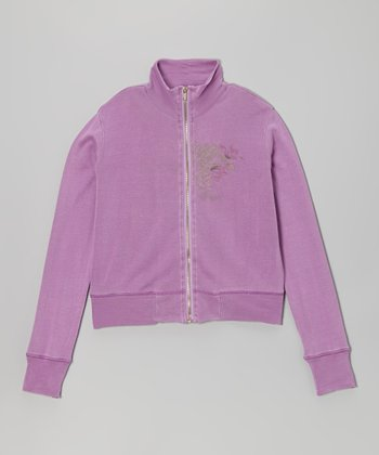 Plum Silk Zip-Up Jacket