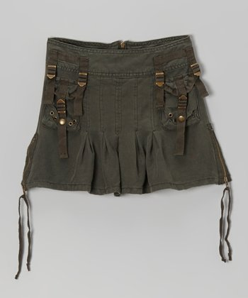 Normandy Rivet Silk Cargo Skirt - Girls