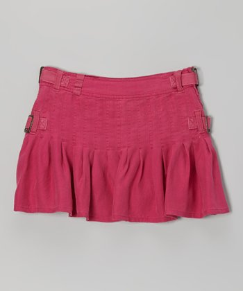 Magenta Buckle Silk Skirt - Girls