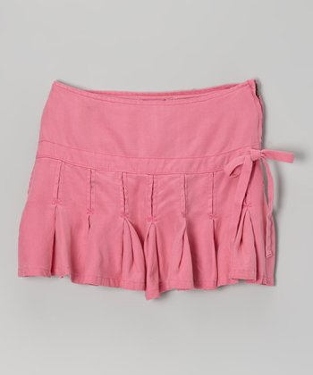 Fuchsia Pleated Silk Skirt - Girls