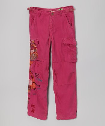 Magenta 'Vietnam' Silk Pants - Girls